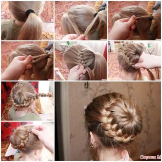 Weave braids around tail