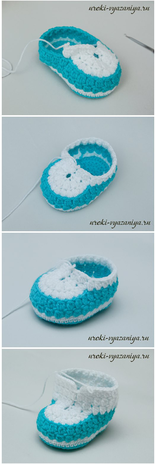 DIY Crocodile Stitch Baby Booties #Crochet #Baby #Booties