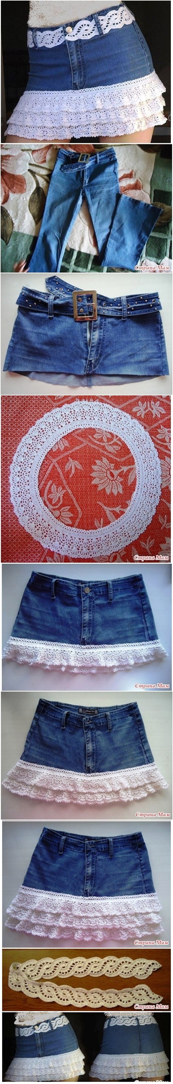 How to DIY Lace layered Skirt from Old Jean