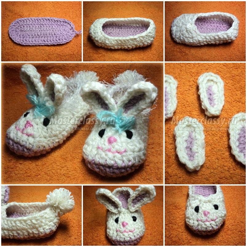 DIY Cute Crochet Baby Bunnies Slippers