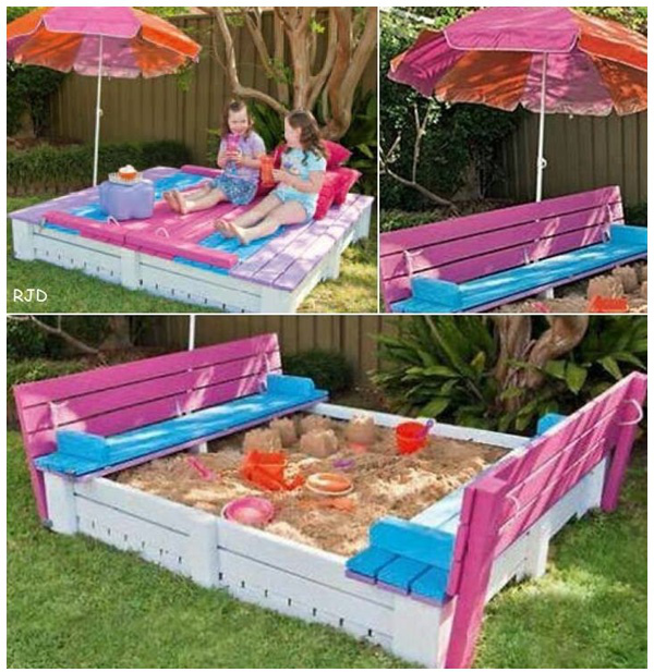 DIY Covered Sandbox With Bench Seating for Kids