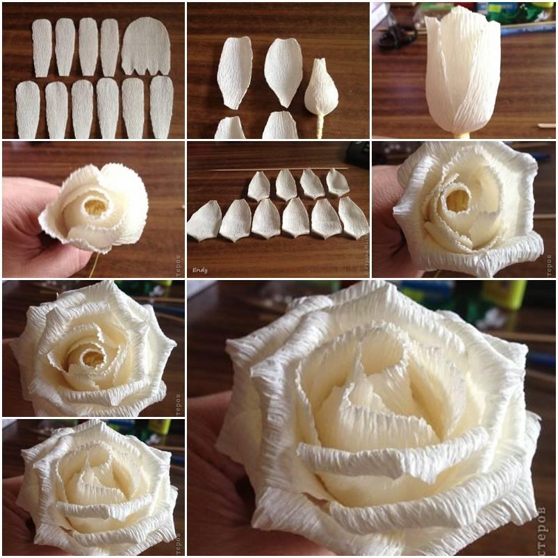 Как сделать букет белых роз из бумаги