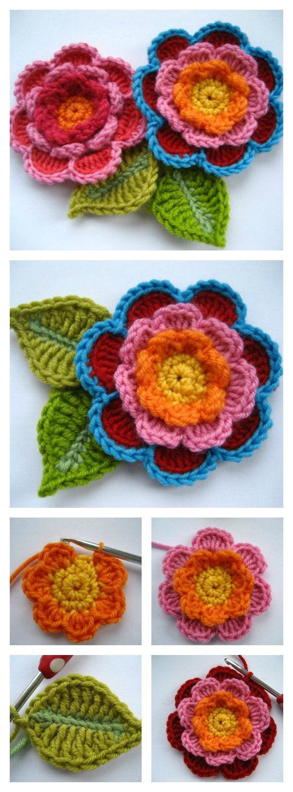 Crochet Beautiful Triple Layer Flower Free Pattern and Tutorial