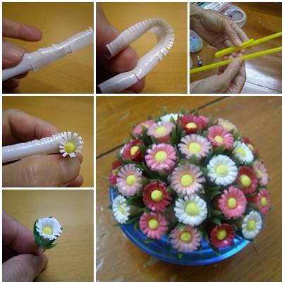 Цветок из трубочек для коктейля своими руками 683