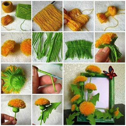 Craft Pretty Yarn Dandelions for Your Home