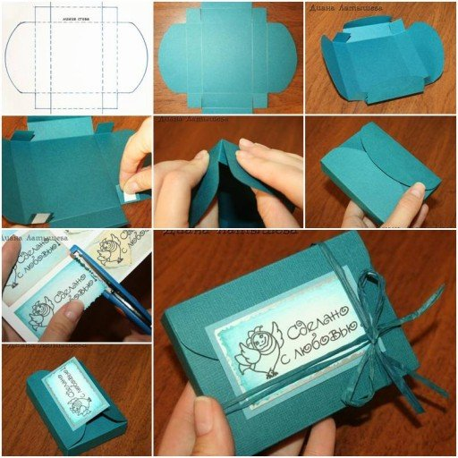 How to diy easy fold paper gift box with cd - How to make beautiful gift box ...