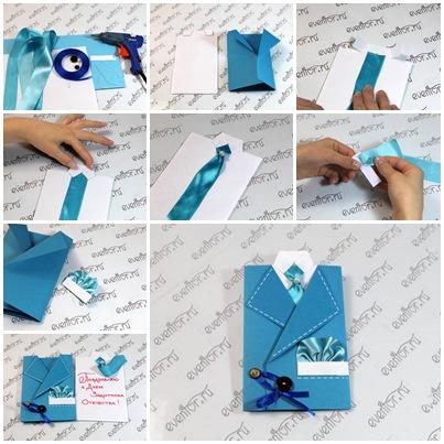 کارت تبریک به شکل کت و کراوات مردانه