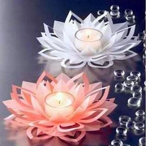 Diy paper lotus candlestick for Diy paper lotus candlestick
