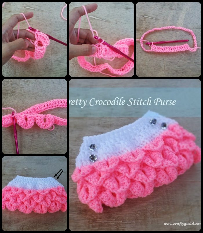 Pretty Crocodile Stitch Purse with Free Pattern