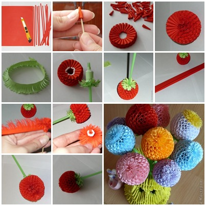How to diy quilling beautiful ball flowers for How to make your own quilling paper