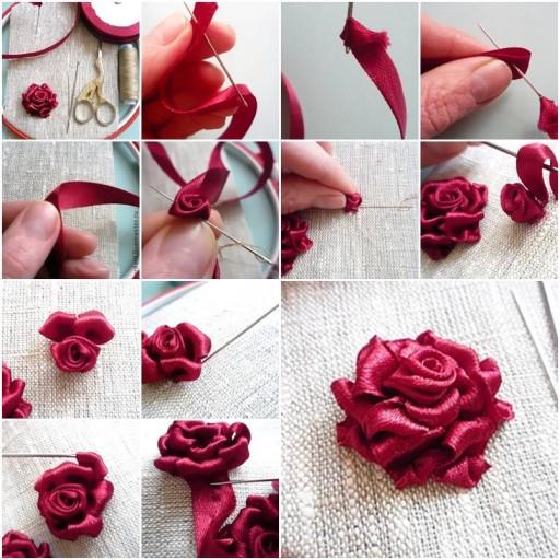 Розы из ленты пошагово