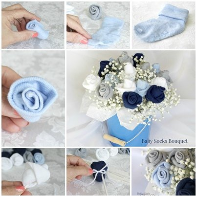 DIY Baby Socks Rose Flower Bouquet