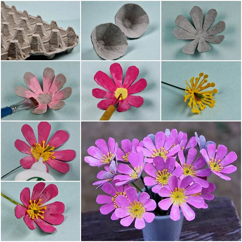 20 diy mother s day craft project ideas Egg carton flowers ideas