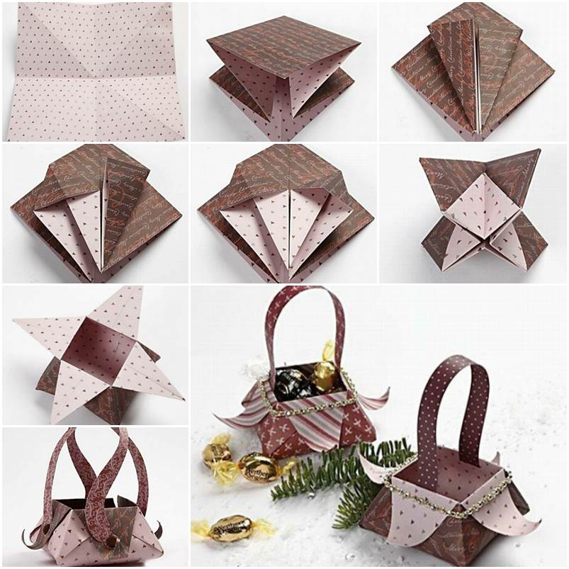 Handmade Paper Baskets Step By Step : Beautiful origami star box folding instructions