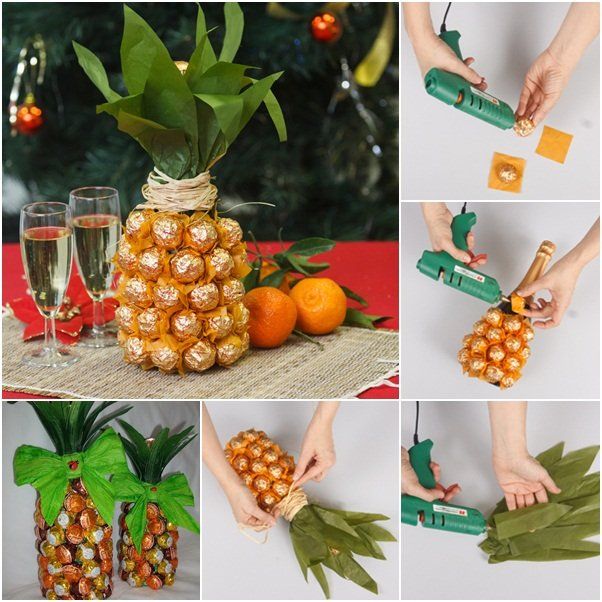 Creative Gift Wrap a Champagne Bottle Like a Pineapple with Chocolate