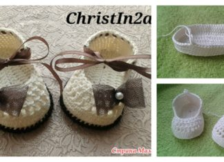 DIY Crochet Baby Booties with Ribbon Tie