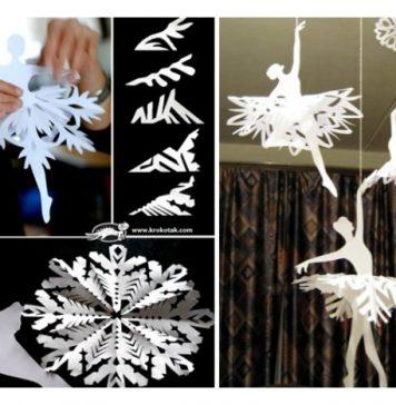 DIY Paper Snowflake Ballerinas for Room Decoration