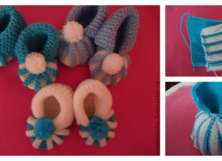 How to Easily Knit Cute Pom-pom Decorated Baby Booties