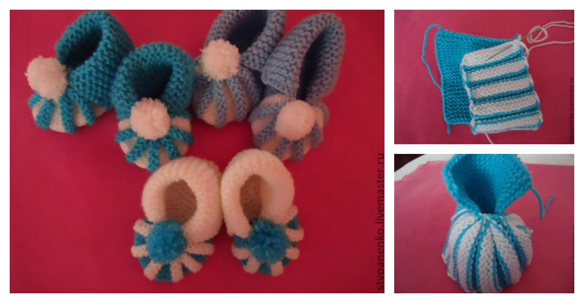 How To Easily Knit Cute Pom Pom Decorated Baby Booties Cool