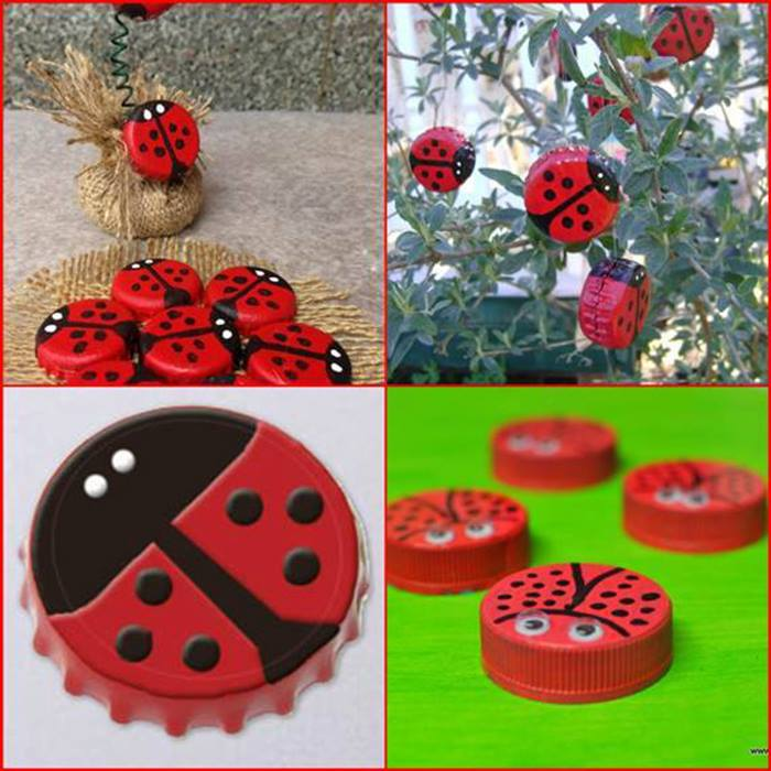 Make-beautiful-ladybugs-with-bottle-caps