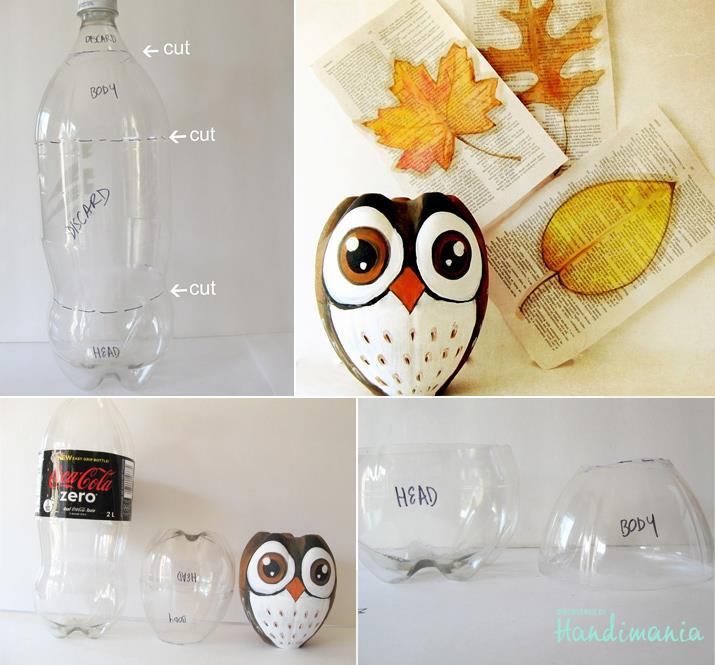 Make-beautiful-owl-with-recyled-coke-bottle