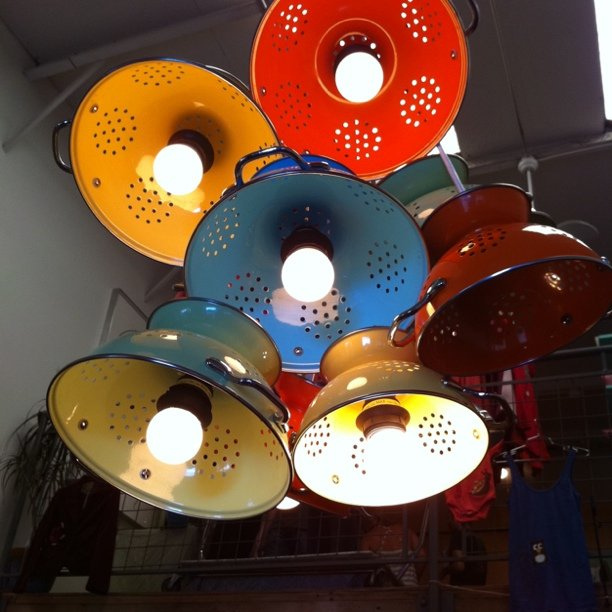 Metal Colander to Lamp