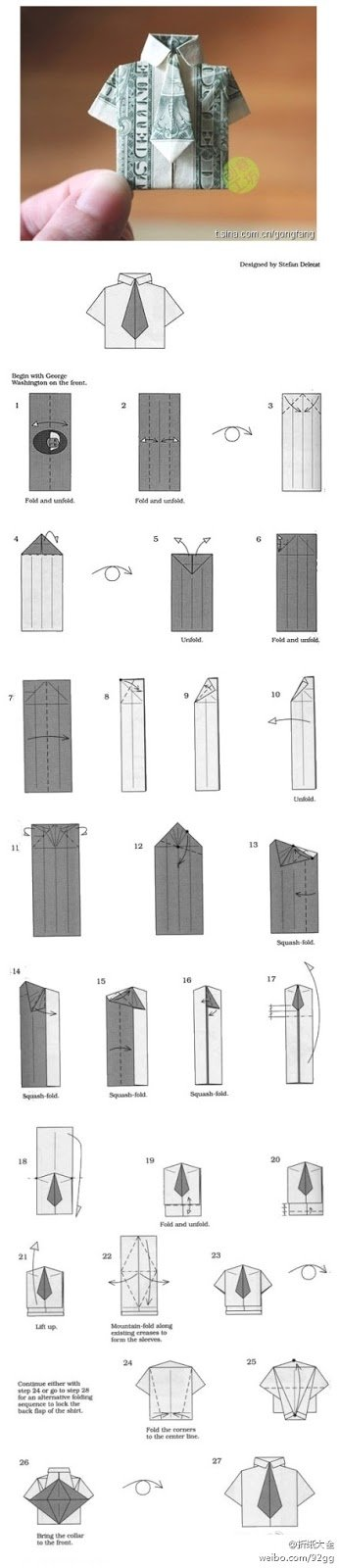 How to make an origami shirt with tie from money for How to make a shirt with money