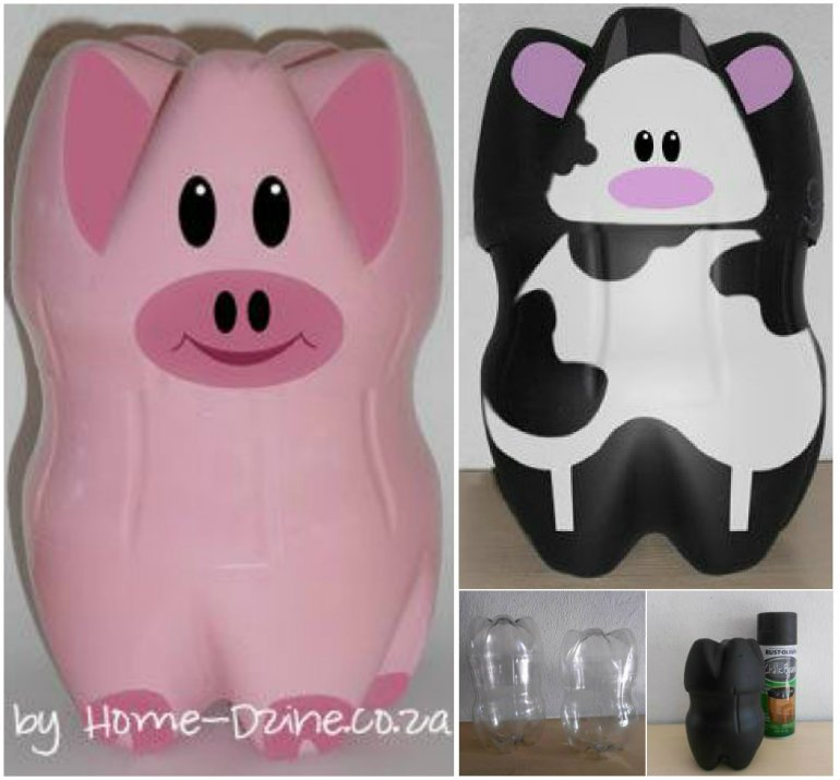 Diy repurpose plastic bottles into saving banks for Piggy bank ideas diy