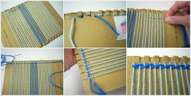 Weave-Rug-With-Cardboard-Fork-2