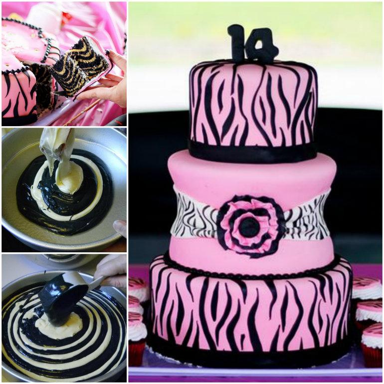 DIY How to Make Zebra Patterned Surprise inside Cake