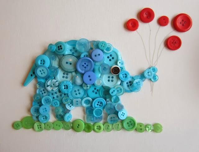 Diy button elephant wall art - Cuadros con botones ...