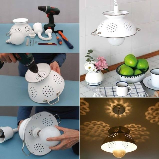 DIY Hanging Lamp Shade From A Colander