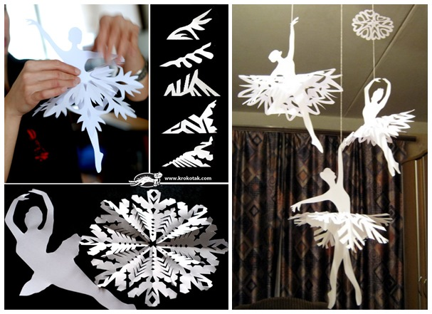 Diy Paper Snowflake Ballerinas For Room Decoration