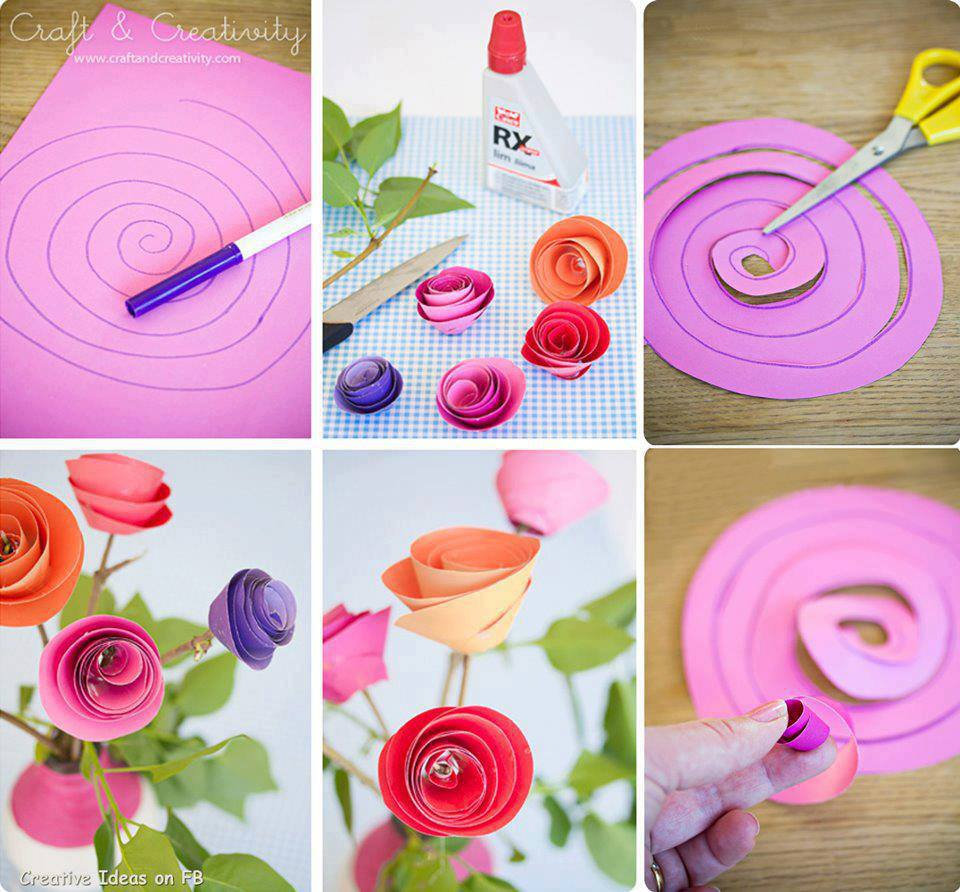 DIY Paper Spiral Rose and Decoration-flower bouquet