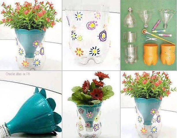 DIY Pretty Flower Pot from Plastic Bottles
