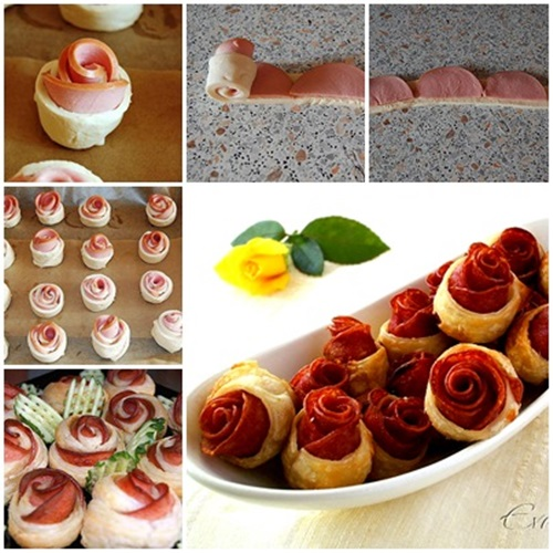 DIY Puff Pastry and Sausage Roses