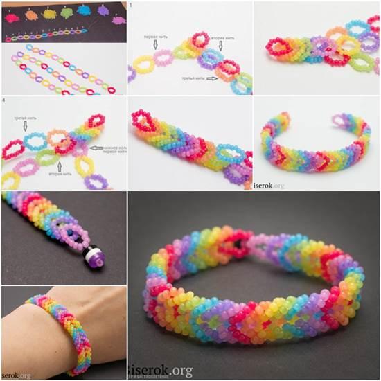 diy-rainbow-color-woven-beaded-bracelet01