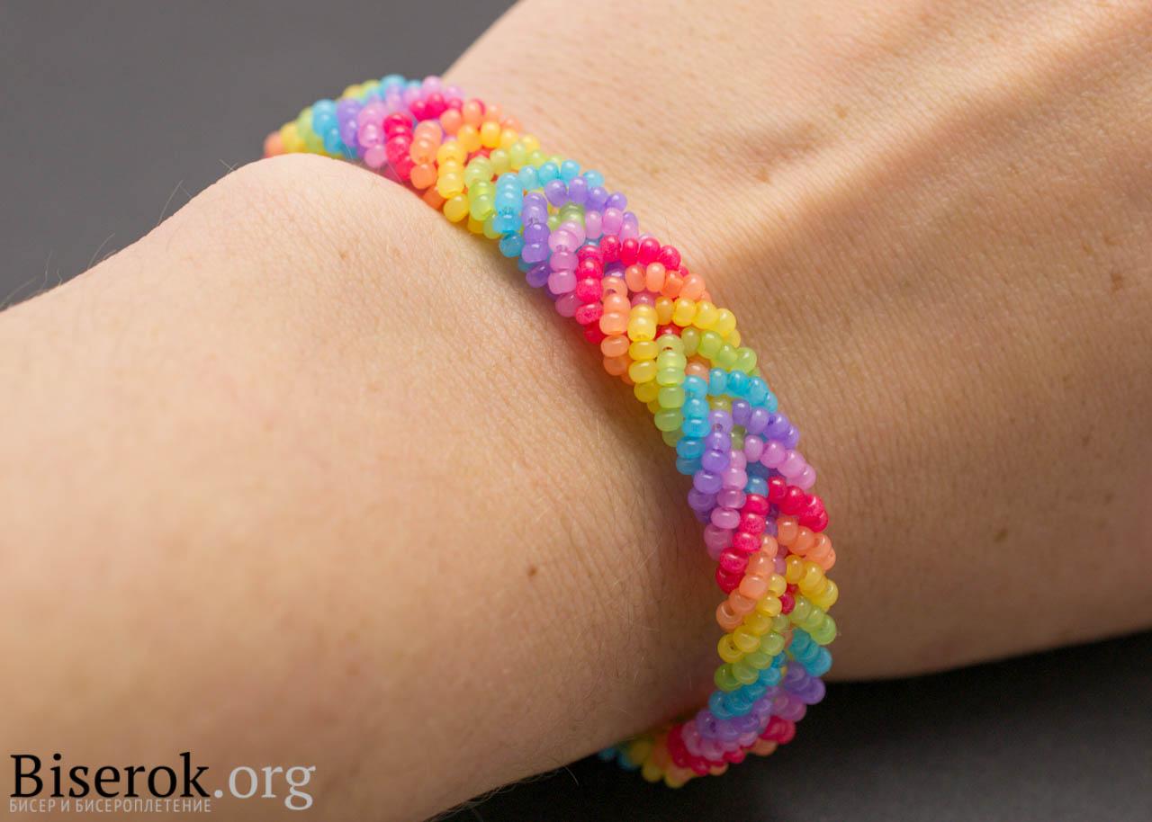 diy-rainbow-color-woven-beaded-bracelet09
