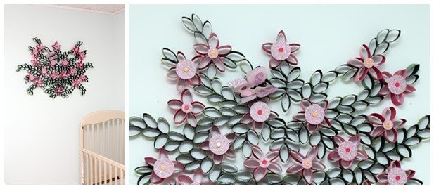DIY Toilet Paper Roll 3D Flower Wall Art Part 90