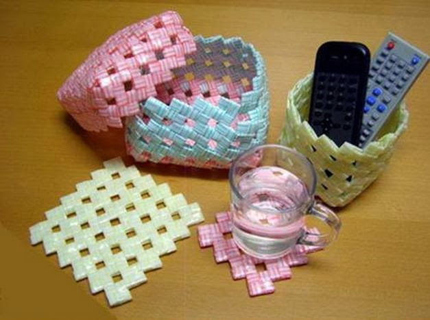 Diy woven amazing storage baskets out of drinking straws for Best out of waste ideas for class 8