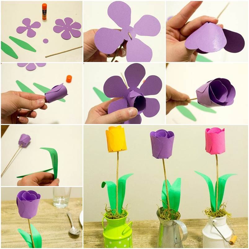 How To DIY 3D Paper Tulip Flowers