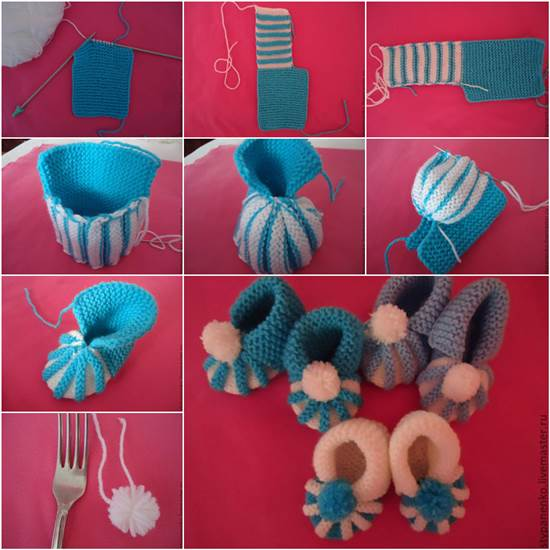 How To Easily Knit Cute Pom Pom Decorated Baby Booties
