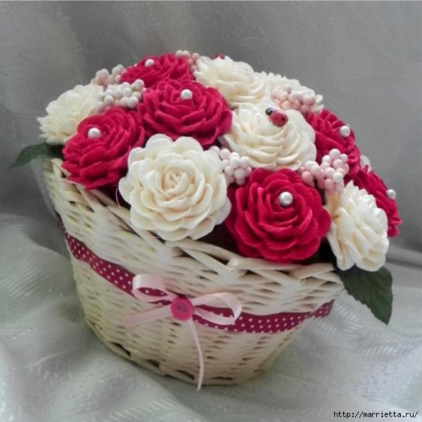 Корзинка для цветов из гофрированной бумаги своими руками 938
