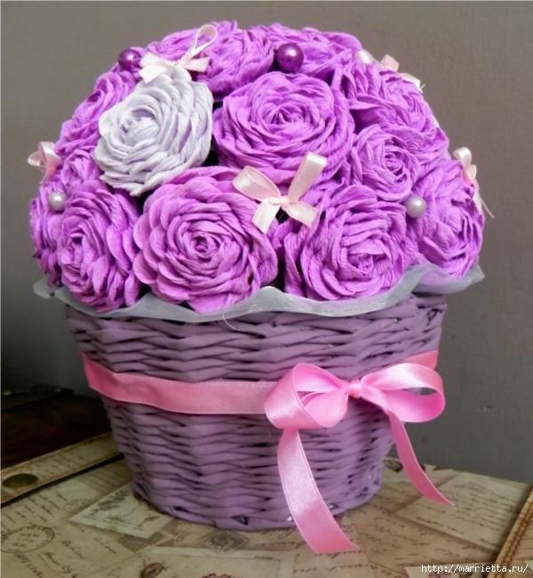 Цветы в корзине из бумаги своими руками мастер класс