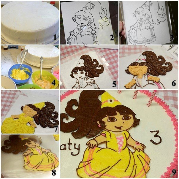 How to Transfer a Favorite Image on a Birthday Cake-Dora