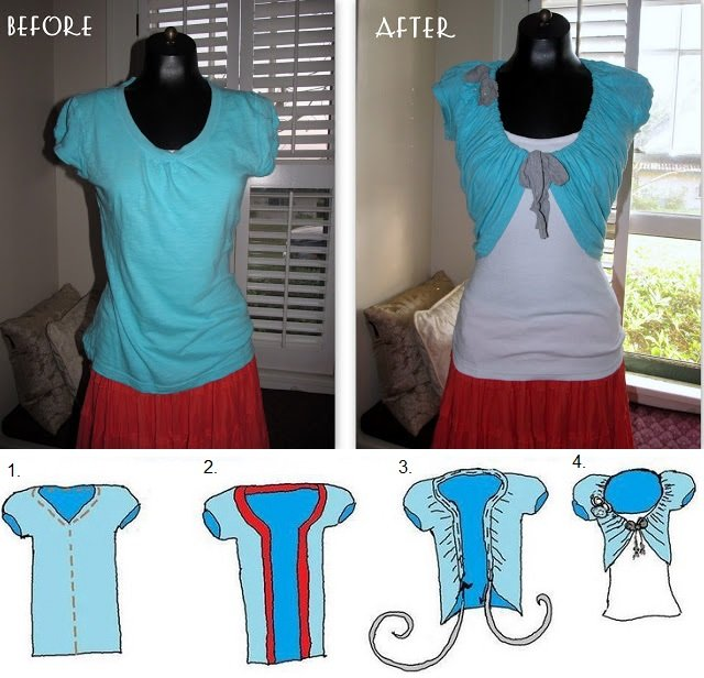 diy make cute bolero from an old t shirt. Black Bedroom Furniture Sets. Home Design Ideas