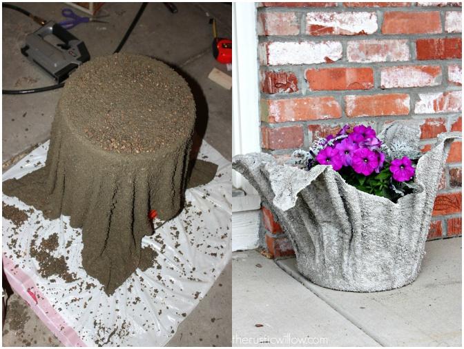 Diy make cement cloth planters video - Cement cloth garden ornaments ...