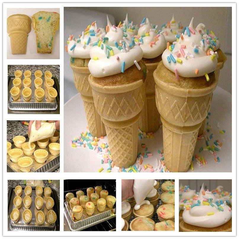 How To Make Cake Filled Ice Cream Cones