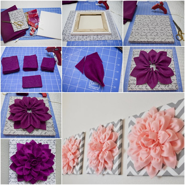 Felt Flowers Wall Decor : Cool creativity diy beautiful d felt dahlia flower wall art