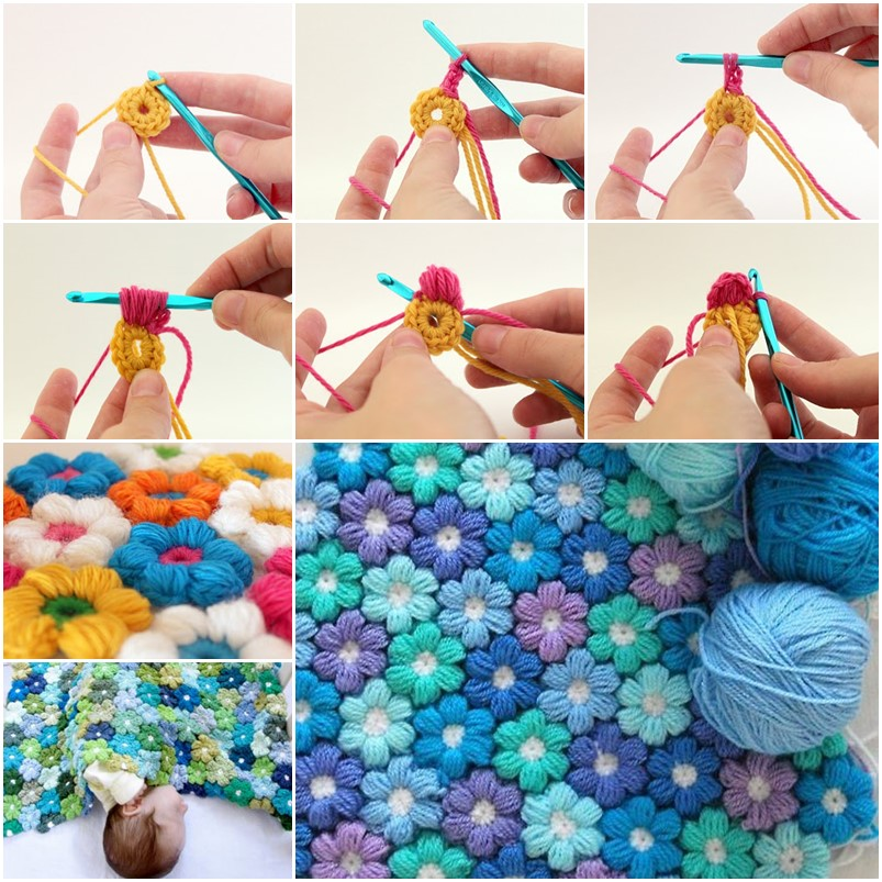Crochet Flower Puff Pattern : DIY Crochet 6 Petal Puff Stitch Flower Blanket
